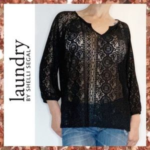 NEW Laundry by Shelli Segal Black Lace Top Large L